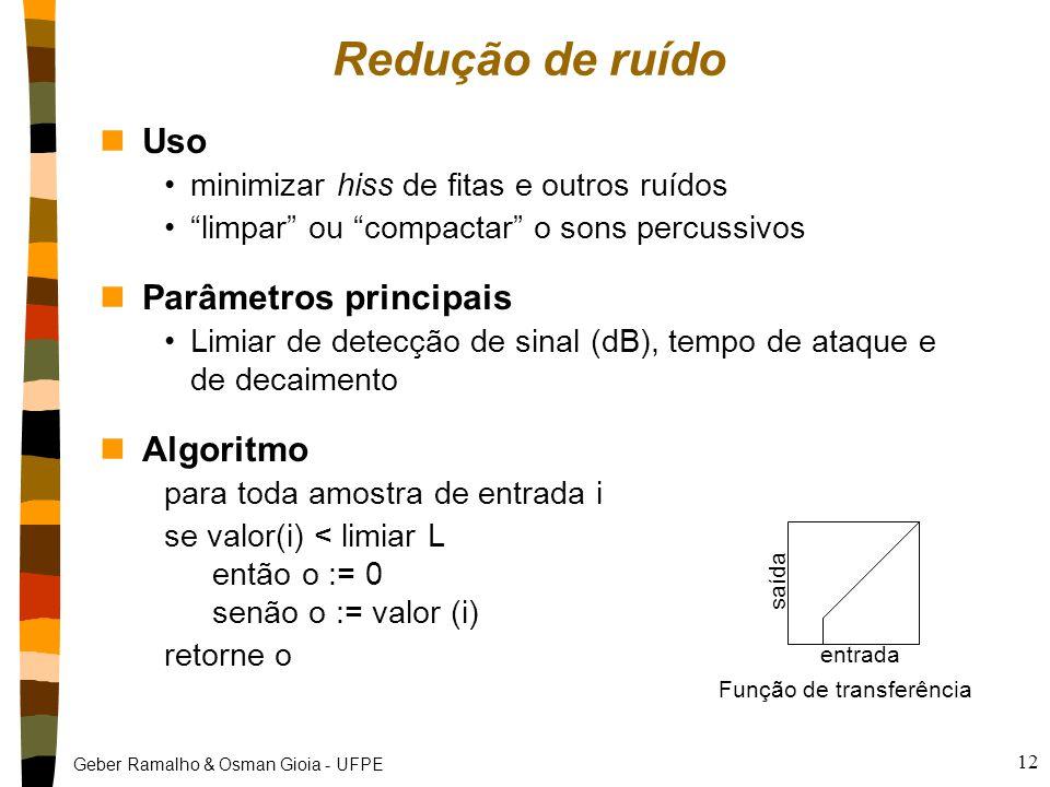 """Geber Ramalho & Osman Gioia - UFPE 12 Redução de ruído nUso minimizar hiss de fitas e outros ruídos """"limpar"""" ou """"compactar"""" o sons percussivos nParâme"""