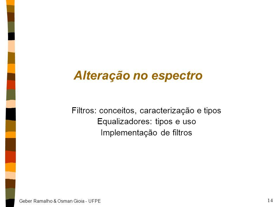 Geber Ramalho & Osman Gioia - UFPE 14 Alteração no espectro Filtros: conceitos, caracterização e tipos Equalizadores: tipos e uso Implementação de fil