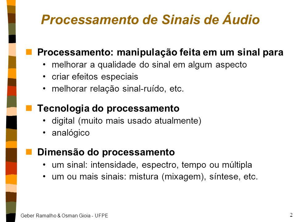 Geber Ramalho & Osman Gioia - UFPE 2 Processamento de Sinais de Áudio nProcessamento: manipulação feita em um sinal para melhorar a qualidade do sinal