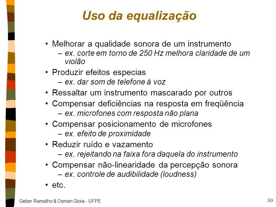 Geber Ramalho & Osman Gioia - UFPE 30 Uso da equalização Melhorar a qualidade sonora de um instrumento –ex. corte em torno de 250 Hz melhora claridade
