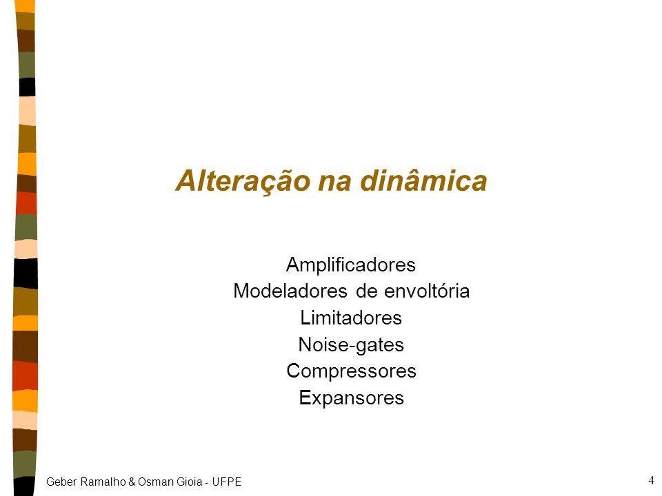 Geber Ramalho & Osman Gioia - UFPE 4 Alteração na dinâmica Amplificadores Modeladores de envoltória Limitadores Noise-gates Compressores Expansores