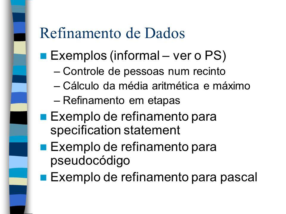 Refinamento de Dados Exemplos (informal – ver o PS) –Controle de pessoas num recinto –Cálculo da média aritmética e máximo –Refinamento em etapas Exemplo de refinamento para specification statement Exemplo de refinamento para pseudocódigo Exemplo de refinamento para pascal
