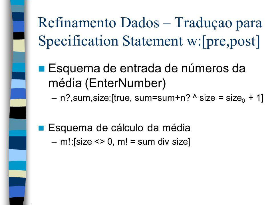 Refinamento Dados – Traduçao para Specification Statement w:[pre,post] Esquema de entrada de números da média (EnterNumber) –n ,sum,size:[true, sum=sum+n.