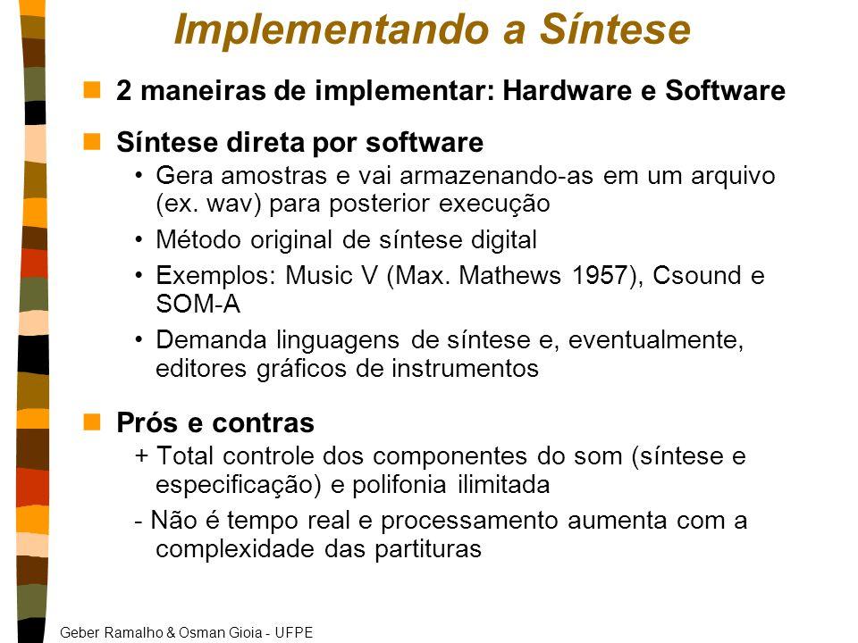 Geber Ramalho & Osman Gioia - UFPE Implementando a Síntese n2 maneiras de implementar: Hardware e Software nSíntese direta por software Gera amostras e vai armazenando-as em um arquivo (ex.