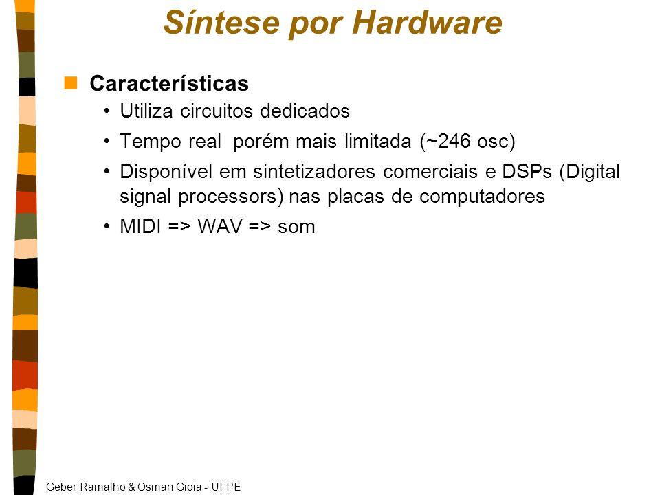 Geber Ramalho & Osman Gioia - UFPE Síntese por Hardware nCaracterísticas Utiliza circuitos dedicados Tempo real porém mais limitada (~246 osc) Disponível em sintetizadores comerciais e DSPs (Digital signal processors) nas placas de computadores MIDI => WAV => som