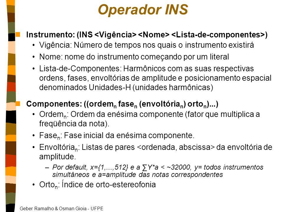 Geber Ramalho & Osman Gioia - UFPE Operador INS nInstrumento: (INS ) Vigência: Número de tempos nos quais o instrumento existirá Nome: nome do instrumento começando por um literal Lista-de-Componentes: Harmônicos com as suas respectivas ordens, fases, envoltórias de amplitude e posicionamento espacial denominados Unidades-H (unidades harmônicas) nComponentes: ((ordem n fase n (envoltória n ) orto n )...) Ordem n : Ordem da enésima componente (fator que multiplica a freqüência da nota).