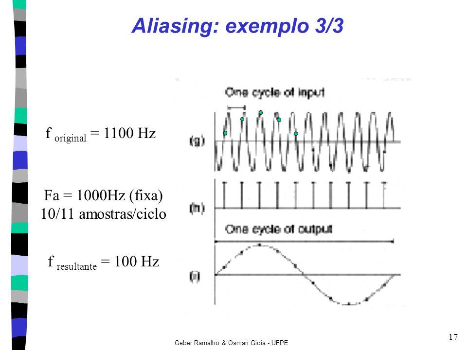 Geber Ramalho & Osman Gioia - UFPE 17 Aliasing: exemplo 3/3 Fa = 1000Hz (fixa) 10/11 amostras/ciclo f resultante = 100 Hz f original = 1100 Hz