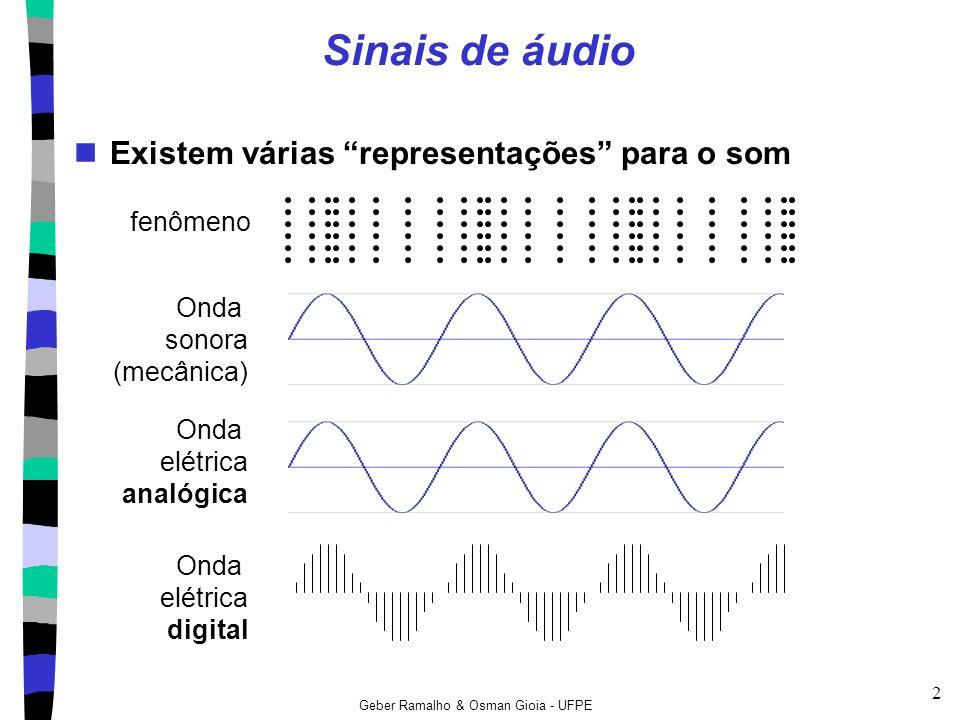 Geber Ramalho & Osman Gioia - UFPE 33 Vantagens do áudio digital Melhor relação sinal-ruído (SNR) pois não depende do meio (ou canal) mais fácil separar ruído de sinal devido as formas de onda!!.