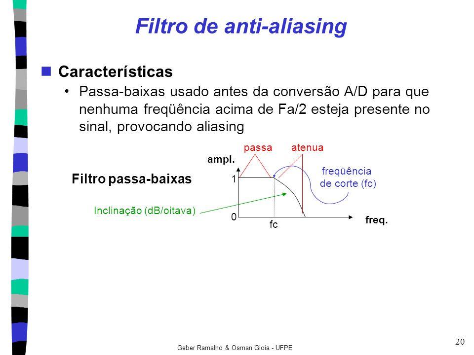Geber Ramalho & Osman Gioia - UFPE 20 Filtro de anti-aliasing Características Passa-baixas usado antes da conversão A/D para que nenhuma freqüência ac