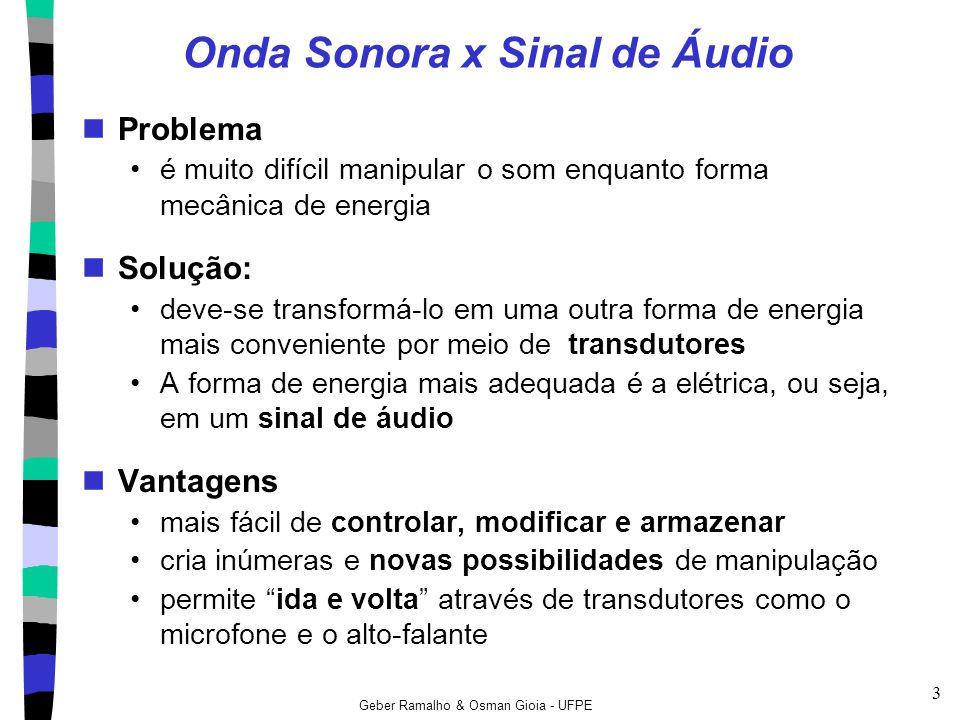 Geber Ramalho & Osman Gioia - UFPE 4 Caminho do Sinal de Áudio Analógico Conceitos importantes Captação (microfones) Processamento (mixagem, reverberação, equalização...) Armazenamento (gravação) Reprodução (alto-falantes)