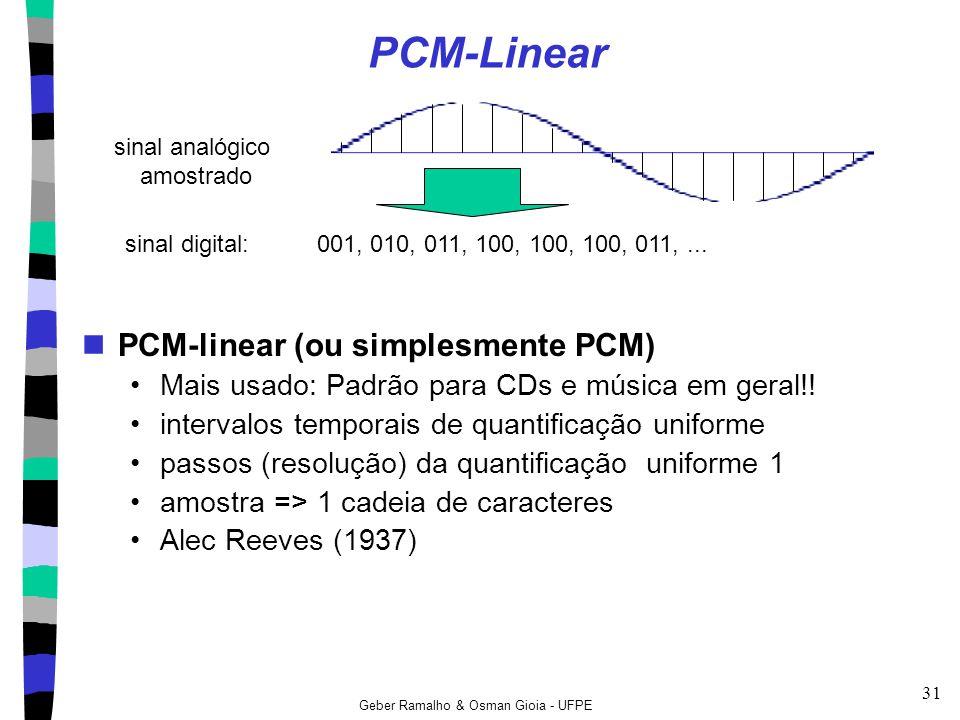 Geber Ramalho & Osman Gioia - UFPE 31 PCM-Linear PCM-linear (ou simplesmente PCM) Mais usado: Padrão para CDs e música em geral!! intervalos temporais