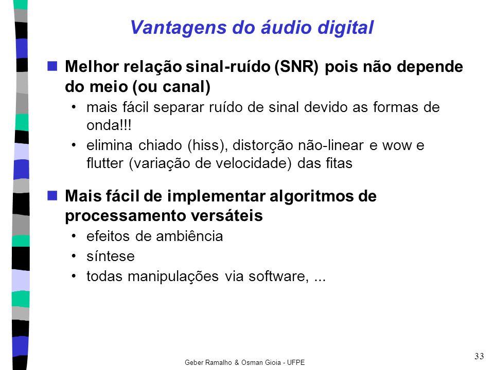 Geber Ramalho & Osman Gioia - UFPE 33 Vantagens do áudio digital Melhor relação sinal-ruído (SNR) pois não depende do meio (ou canal) mais fácil separ