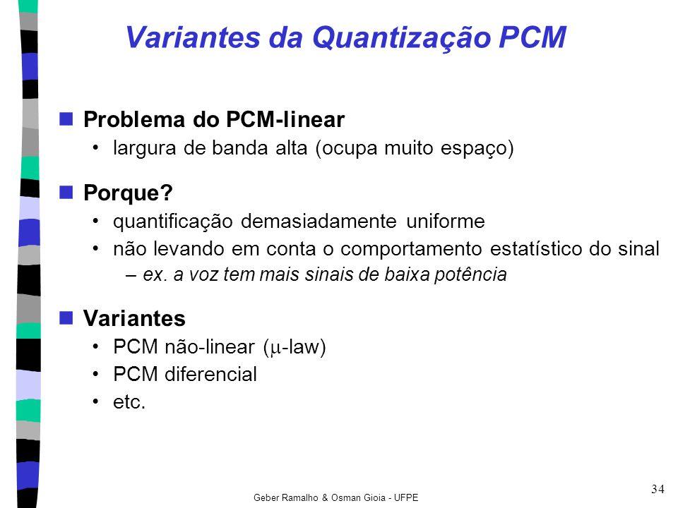 Geber Ramalho & Osman Gioia - UFPE 34 Variantes da Quantização PCM Problema do PCM-linear largura de banda alta (ocupa muito espaço) Porque? quantific