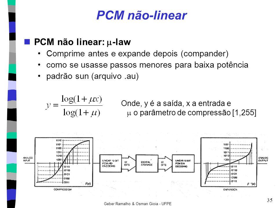 Geber Ramalho & Osman Gioia - UFPE 35 PCM não-linear PCM não linear:  -law Comprime antes e expande depois (compander) como se usasse passos menores