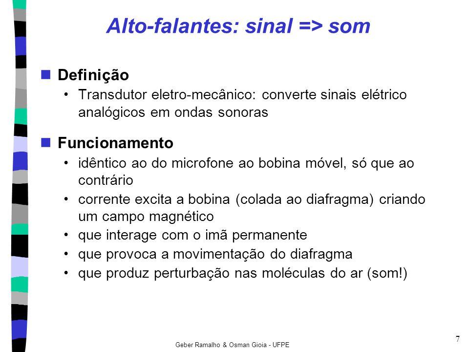 Geber Ramalho & Osman Gioia - UFPE 7 Alto-falantes: sinal => som Definição Transdutor eletro-mecânico: converte sinais elétrico analógicos em ondas so