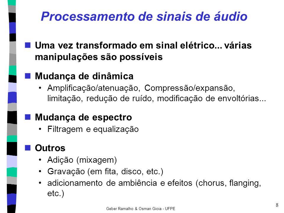 Geber Ramalho & Osman Gioia - UFPE 8 Processamento de sinais de áudio Uma vez transformado em sinal elétrico... várias manipulações são possíveis Muda