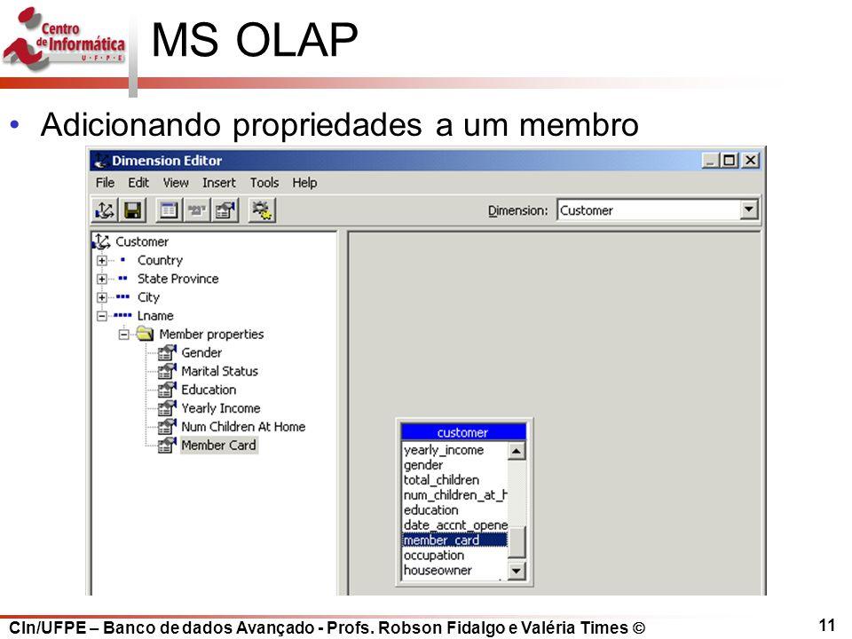 CIn/UFPE – Banco de dados Avançado - Profs. Robson Fidalgo e Valéria Times  11 MS OLAP Adicionando propriedades a um membro