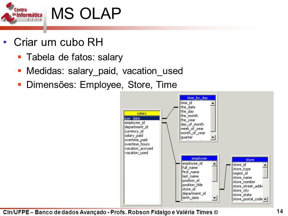CIn/UFPE – Banco de dados Avançado - Profs. Robson Fidalgo e Valéria Times  14 MS OLAP Criar um cubo RH  Tabela de fatos: salary  Medidas: salary_p