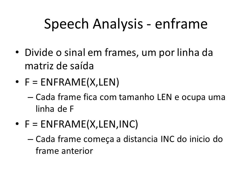 Speech Analysis - enframe Divide o sinal em frames, um por linha da matriz de saída F = ENFRAME(X,LEN) – Cada frame fica com tamanho LEN e ocupa uma linha de F F = ENFRAME(X,LEN,INC) – Cada frame começa a distancia INC do inicio do frame anterior