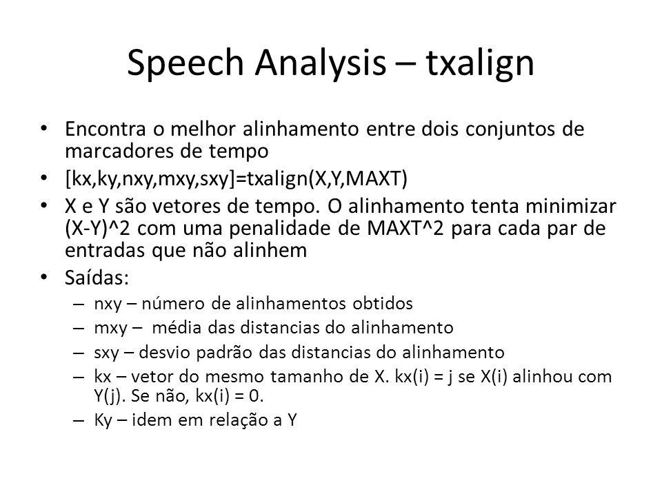 Speech Analysis – txalign Encontra o melhor alinhamento entre dois conjuntos de marcadores de tempo [kx,ky,nxy,mxy,sxy]=txalign(X,Y,MAXT) X e Y são vetores de tempo.