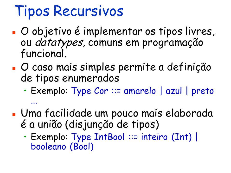 Tipos Recursivos O objetivo é implementar os tipos livres, ou datatypes, comuns em programação funcional. O caso mais simples permite a definição de t