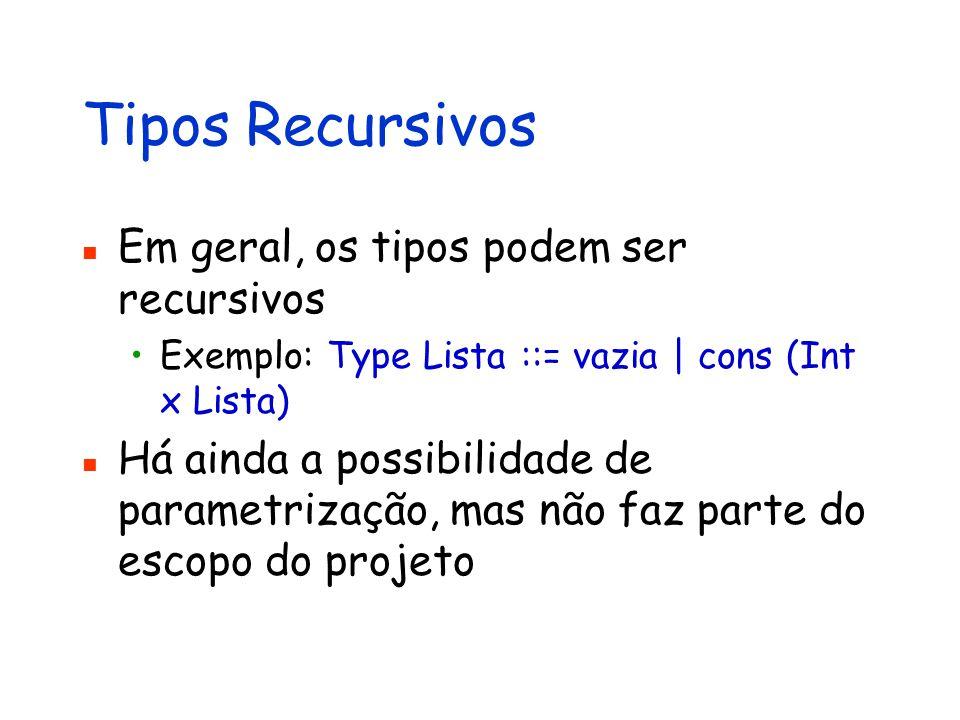 Tipos Recursivos Em geral, os tipos podem ser recursivos Exemplo: Type Lista ::= vazia | cons (Int x Lista) Há ainda a possibilidade de parametrização