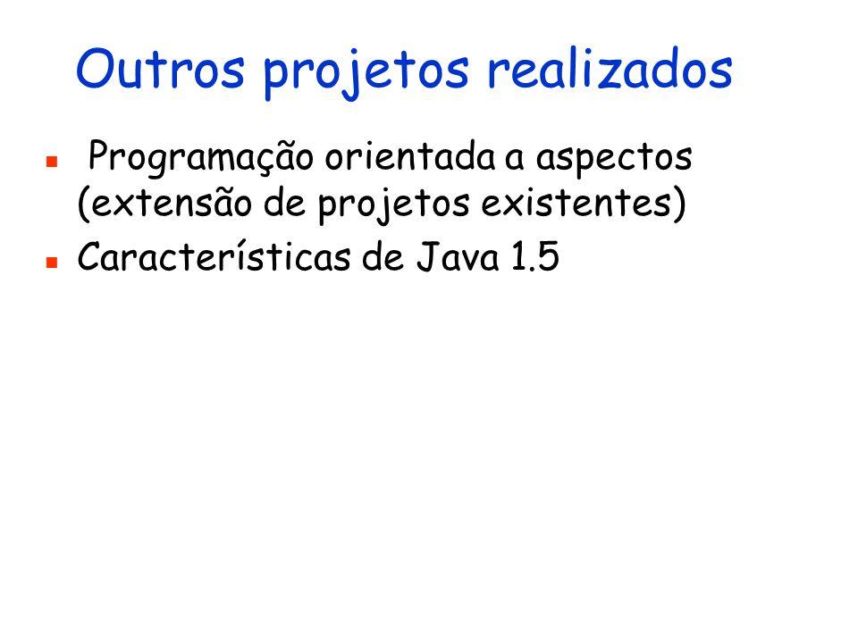 Outros projetos realizados Programação orientada a aspectos (extensão de projetos existentes) Características de Java 1.5