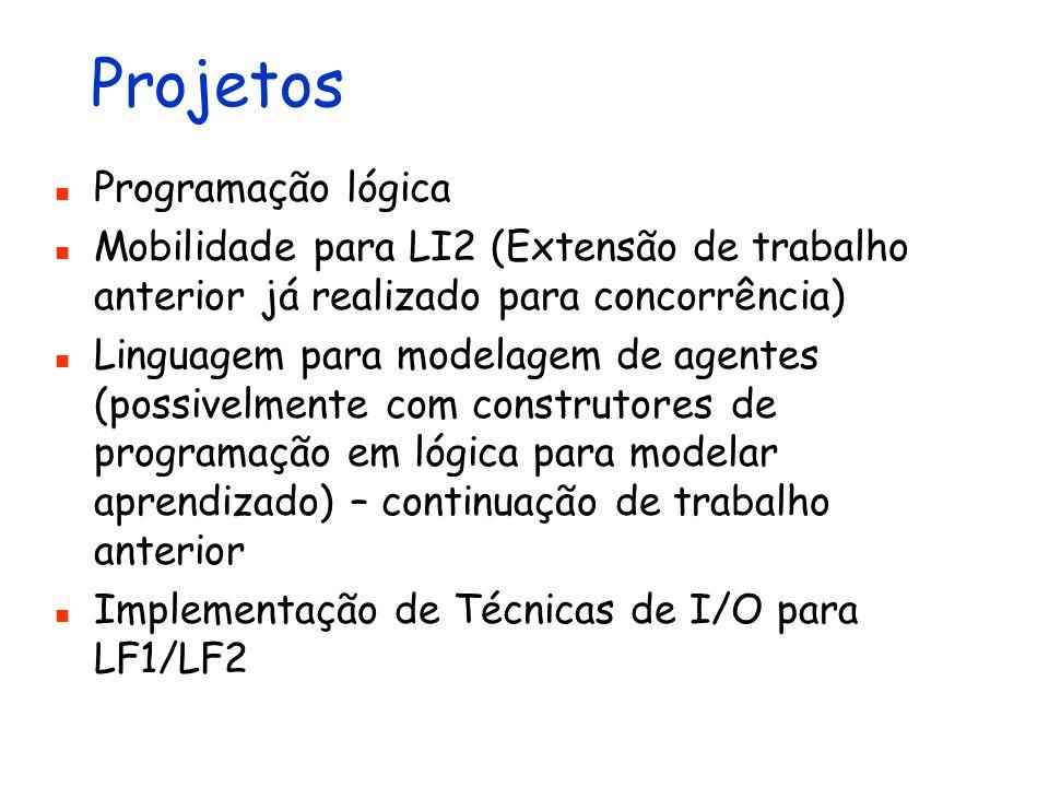 Projetos Programação lógica Mobilidade para LI2 (Extensão de trabalho anterior já realizado para concorrência) Linguagem para modelagem de agentes (po