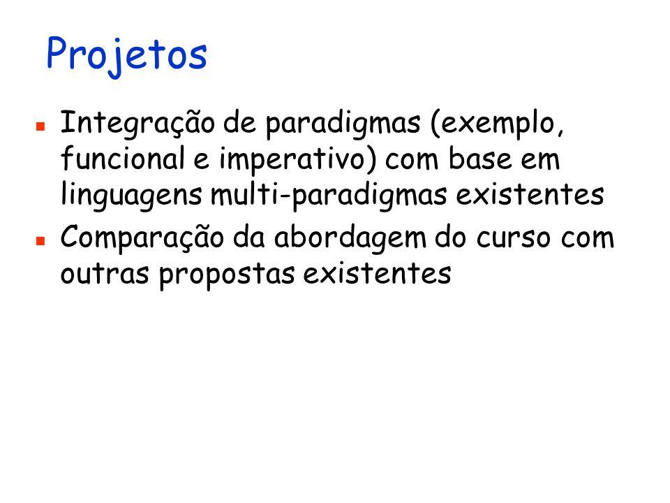 Projetos Integração de paradigmas (exemplo, funcional e imperativo) com base em linguagens multi-paradigmas existentes Comparação da abordagem do curs