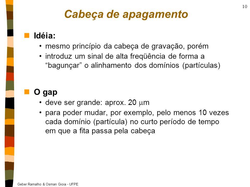 Geber Ramalho & Osman Gioia - UFPE 10 Cabeça de apagamento nIdéia: mesmo princípio da cabeça de gravação, porém introduz um sinal de alta freqüência de forma a bagunçar o alinhamento dos domínios (partículas) nO gap deve ser grande: aprox.