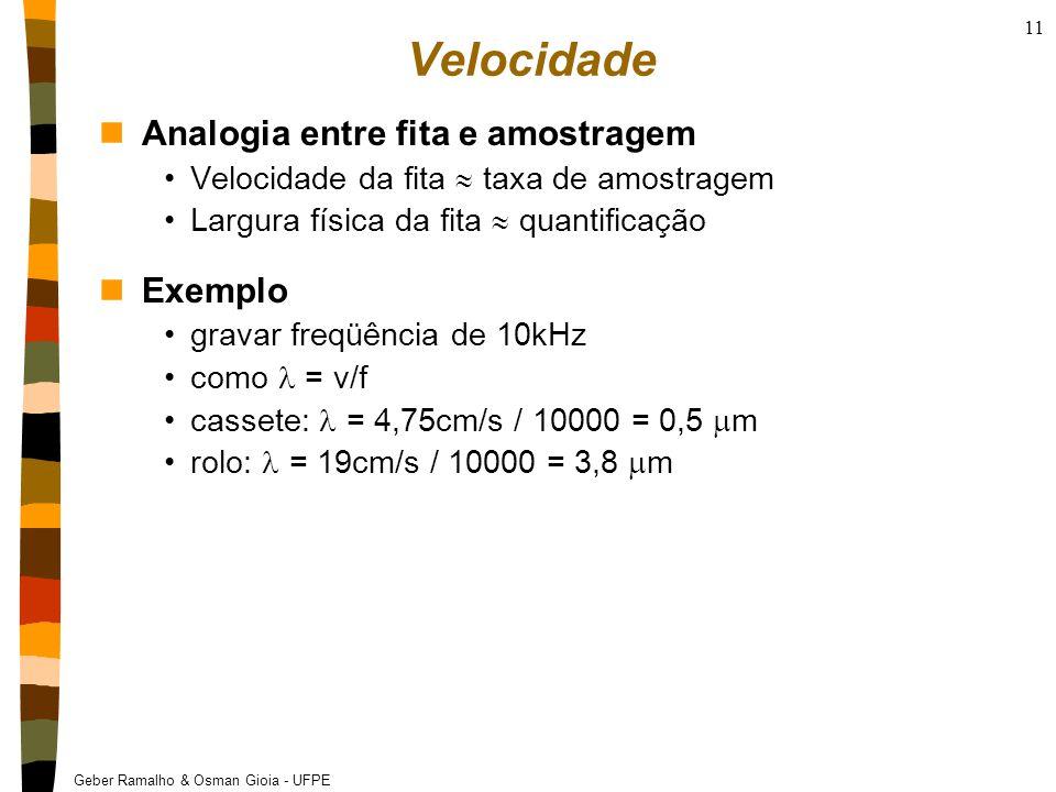 Geber Ramalho & Osman Gioia - UFPE 11 Velocidade nAnalogia entre fita e amostragem Velocidade da fita  taxa de amostragem Largura física da fita  quantificação nExemplo gravar freqüência de 10kHz como = v/f cassete: = 4,75cm/s / 10000 = 0,5  m rolo: = 19cm/s / 10000 = 3,8  m