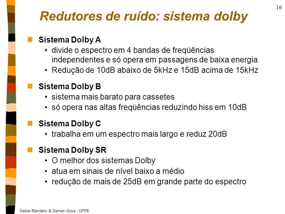 Geber Ramalho & Osman Gioia - UFPE 16 Redutores de ruído: sistema dolby nSistema Dolby A divide o espectro em 4 bandas de freqüências independentes e só opera em passagens de baixa energia Redução de 10dB abaixo de 5kHz e 15dB acima de 15kHz nSistema Dolby B sistema mais barato para cassetes só opera nas altas freqüências reduzindo hiss em 10dB nSistema Dolby C trabalha em um espectro mais largo e reduz 20dB nSistema Dolby SR O melhor dos sistemas Dolby atua em sinais de nível baixo a médio redução de mais de 25dB em grande parte do espectro