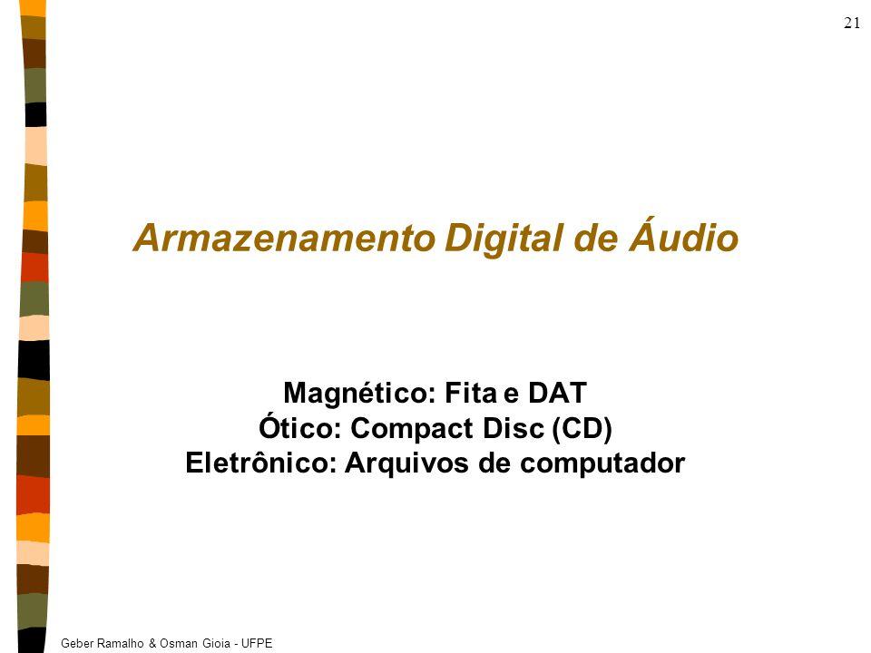 Geber Ramalho & Osman Gioia - UFPE 21 Armazenamento Digital de Áudio Magnético: Fita e DAT Ótico: Compact Disc (CD) Eletrônico: Arquivos de computador