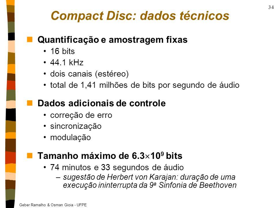 Geber Ramalho & Osman Gioia - UFPE 34 Compact Disc: dados técnicos nQuantificação e amostragem fixas 16 bits 44.1 kHz dois canais (estéreo) total de 1,41 milhões de bits por segundo de áudio nDados adicionais de controle correção de erro sincronização modulação nTamanho máximo de 6.3  10 9 bits 74 minutos e 33 segundos de áudio –sugestão de Herbert von Karajan: duração de uma execução ininterrupta da 9 a Sinfonia de Beethoven
