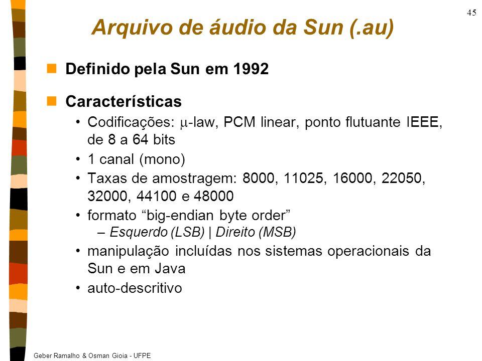 Geber Ramalho & Osman Gioia - UFPE 45 Arquivo de áudio da Sun (.au) nDefinido pela Sun em 1992 nCaracterísticas Codificações:  -law, PCM linear, ponto flutuante IEEE, de 8 a 64 bits 1 canal (mono) Taxas de amostragem: 8000, 11025, 16000, 22050, 32000, 44100 e 48000 formato big-endian byte order –Esquerdo (LSB) | Direito (MSB) manipulação incluídas nos sistemas operacionais da Sun e em Java auto-descritivo