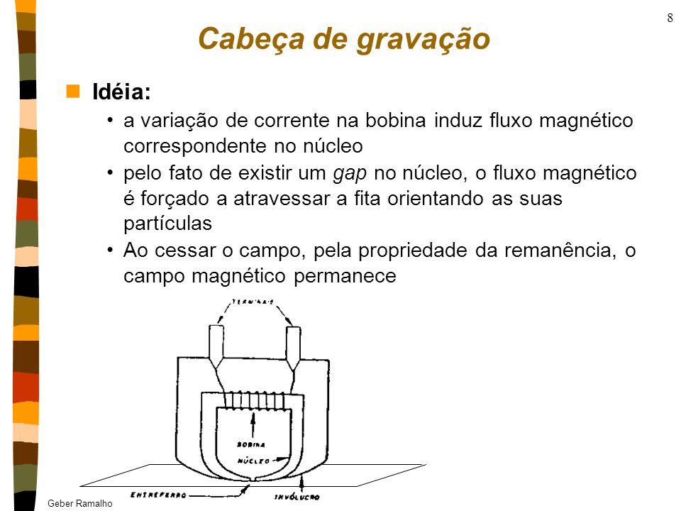Geber Ramalho & Osman Gioia - UFPE 8 Cabeça de gravação nIdéia: a variação de corrente na bobina induz fluxo magnético correspondente no núcleo pelo fato de existir um gap no núcleo, o fluxo magnético é forçado a atravessar a fita orientando as suas partículas Ao cessar o campo, pela propriedade da remanência, o campo magnético permanece
