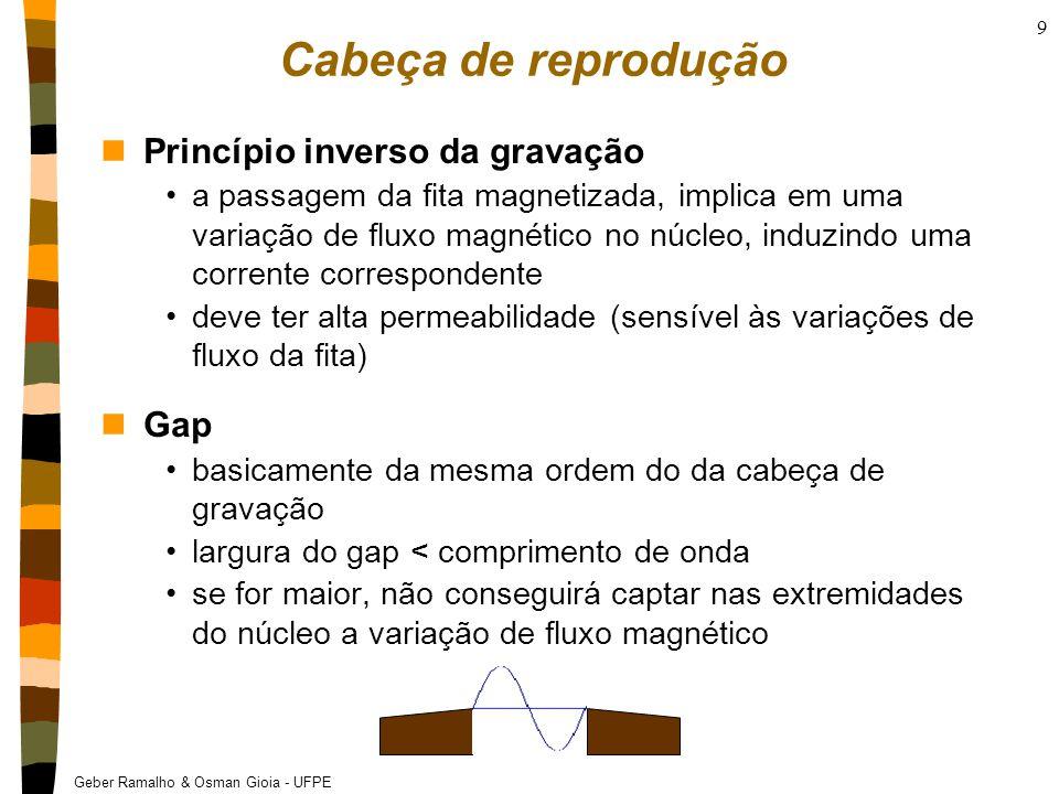 Geber Ramalho & Osman Gioia - UFPE 9 Cabeça de reprodução nPrincípio inverso da gravação a passagem da fita magnetizada, implica em uma variação de fluxo magnético no núcleo, induzindo uma corrente correspondente deve ter alta permeabilidade (sensível às variações de fluxo da fita) nGap basicamente da mesma ordem do da cabeça de gravação largura do gap < comprimento de onda se for maior, não conseguirá captar nas extremidades do núcleo a variação de fluxo magnético