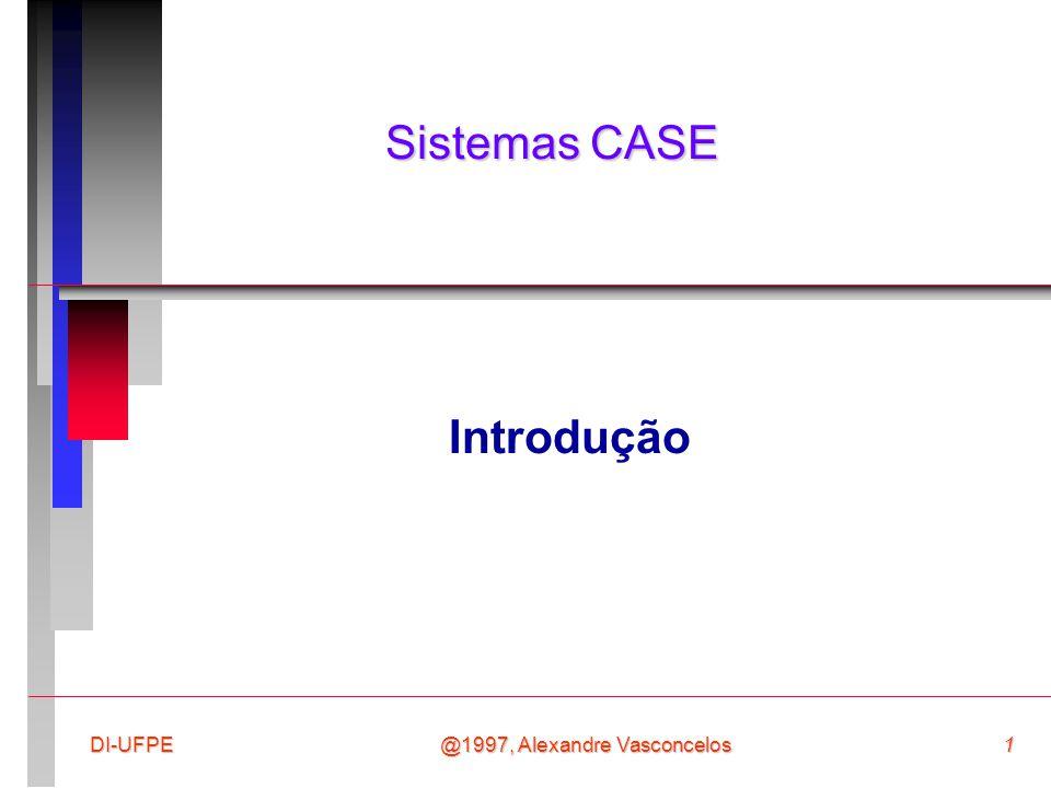 @1997, Alexandre Vasconcelos62DI-UFPE Pontos-chave n CASE envolve o suporte automatizado ao processo de desenvolvimento de software; n A tecnologia CASE pode ser classificada de acordo com diversas características (ex: funcionalidade, fases do desenvolvimento suportadas, etc.); n Ferramentas dão suporte a atividades individuais, workbenches dão suporte a conjuntos de atividades e ambientes dão suporte a todo o processo.