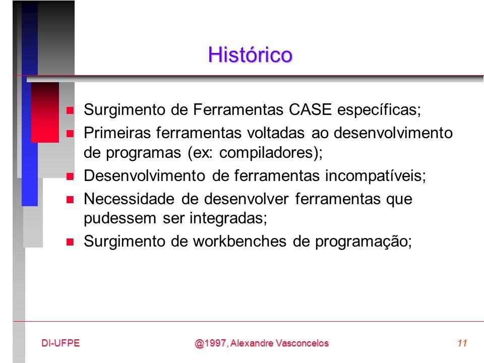 @1997, Alexandre Vasconcelos11DI-UFPE Histórico n Surgimento de Ferramentas CASE específicas; n Primeiras ferramentas voltadas ao desenvolvimento de p