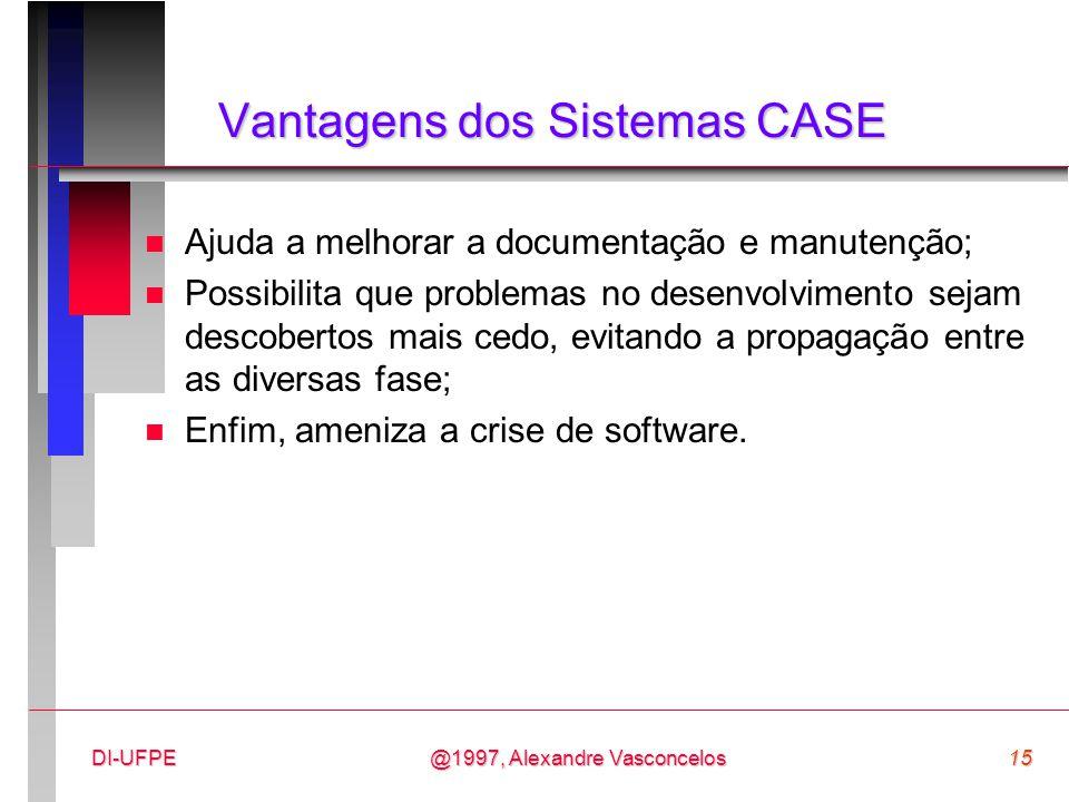 @1997, Alexandre Vasconcelos15DI-UFPE Vantagens dos Sistemas CASE n Ajuda a melhorar a documentação e manutenção; n Possibilita que problemas no desen