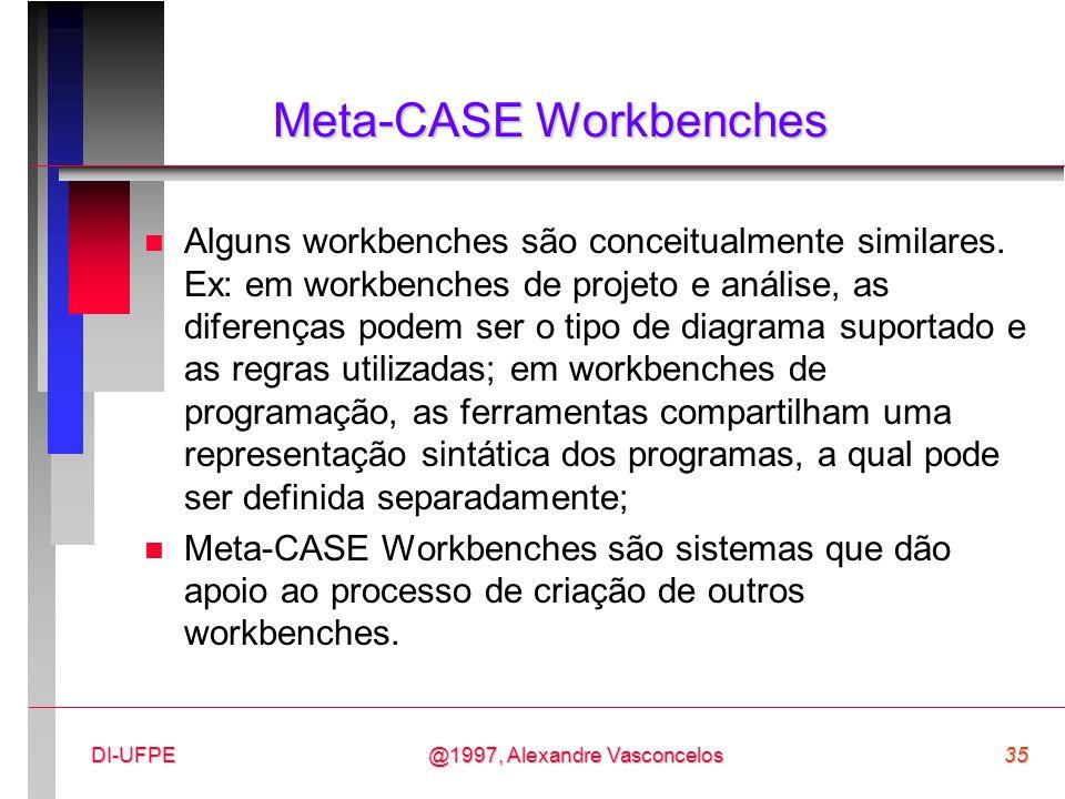 @1997, Alexandre Vasconcelos35DI-UFPE Meta-CASE Workbenches n Alguns workbenches são conceitualmente similares. Ex: em workbenches de projeto e anális