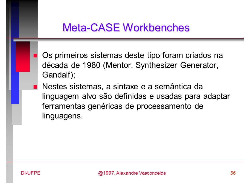 @1997, Alexandre Vasconcelos36DI-UFPE Meta-CASE Workbenches n Os primeiros sistemas deste tipo foram criados na década de 1980 (Mentor, Synthesizer Ge