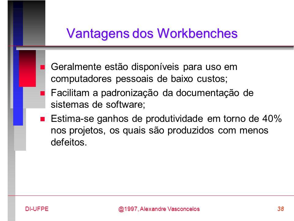 @1997, Alexandre Vasconcelos38DI-UFPE Vantagens dos Workbenches n Geralmente estão disponíveis para uso em computadores pessoais de baixo custos; n Fa