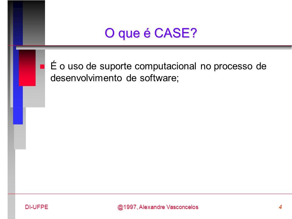 @1997, Alexandre Vasconcelos15DI-UFPE Vantagens dos Sistemas CASE n Ajuda a melhorar a documentação e manutenção; n Possibilita que problemas no desenvolvimento sejam descobertos mais cedo, evitando a propagação entre as diversas fase; n Enfim, ameniza a crise de software.