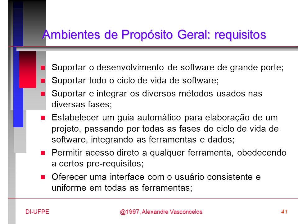 @1997, Alexandre Vasconcelos41DI-UFPE Ambientes de Propósito Geral: requisitos n Suportar o desenvolvimento de software de grande porte; n Suportar to
