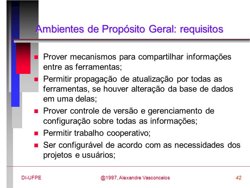 @1997, Alexandre Vasconcelos42DI-UFPE Ambientes de Propósito Geral: requisitos n Prover mecanismos para compartilhar informações entre as ferramentas;