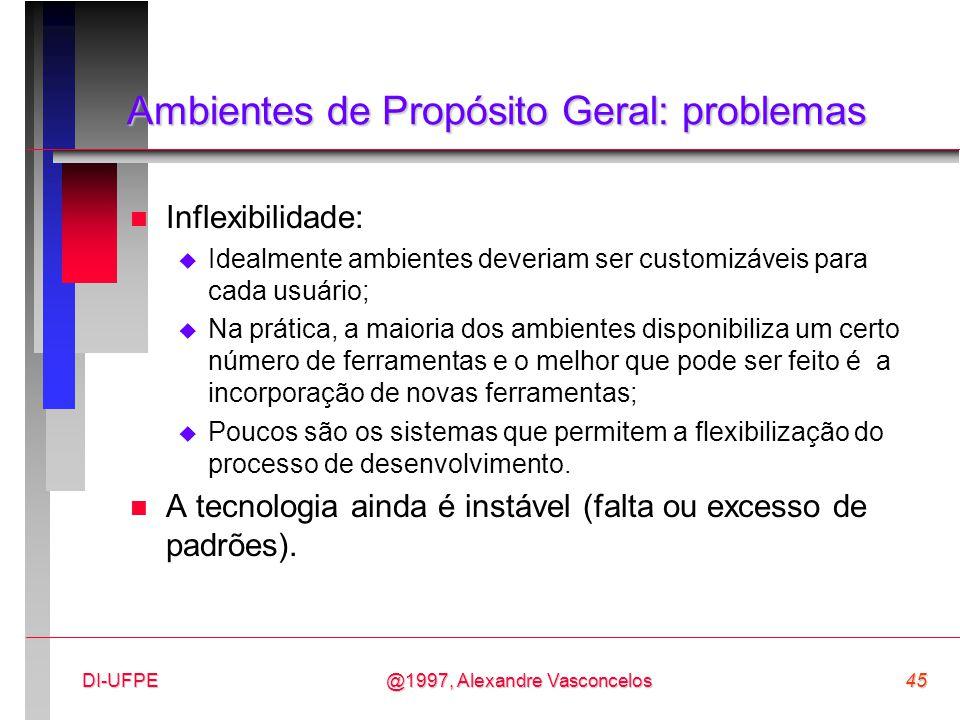 @1997, Alexandre Vasconcelos45DI-UFPE Ambientes de Propósito Geral: problemas n Inflexibilidade:  Idealmente ambientes deveriam ser customizáveis par