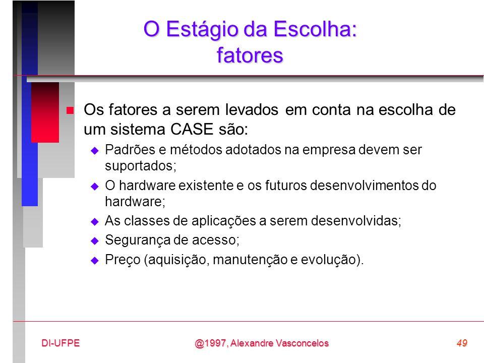 @1997, Alexandre Vasconcelos49DI-UFPE O Estágio da Escolha: fatores n Os fatores a serem levados em conta na escolha de um sistema CASE são:  Padrões