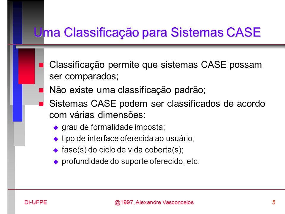 @1997, Alexandre Vasconcelos6DI-UFPE Uma Classificação para Sistemas CASE - fases x profundidade n Ferramenta - é um produto de software que auxilia em uma ou mais tarefas específicas de uma ou mais fases do processo (ciclo de vida) de desenvolvimento de software (ex: compilação, checagem de consistência de um projeto, edição de texto, etc.); n Workbench - conjunto de ferramentas integradas que suporta uma ou mais fases do processo de desenvolvimento de software (ex: especificação, projeto, implementação, etc.).