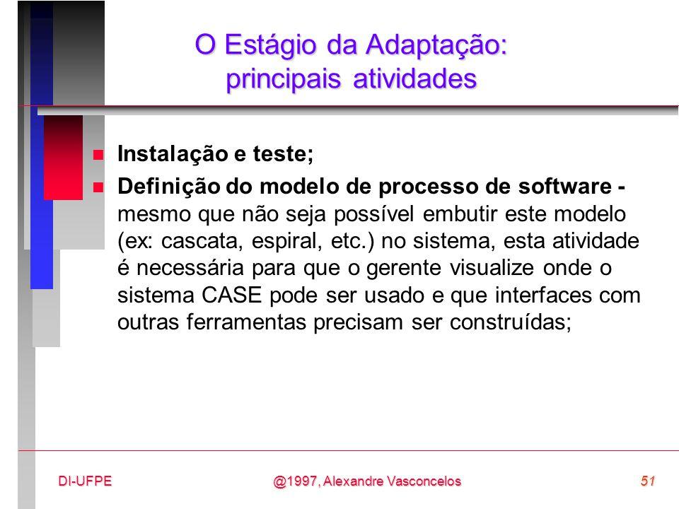 @1997, Alexandre Vasconcelos51DI-UFPE O Estágio da Adaptação: principais atividades n Instalação e teste; n Definição do modelo de processo de softwar